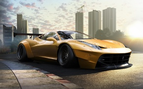 Picture Ferrari, 458, Front, Yellow, Tuning, Italia, Supercar, Wheels, Track, Spoiler, DRAG