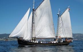 Picture sea, coast, ship, sailboat