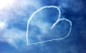 Wallpaper figure, the sky, aircraft, heart