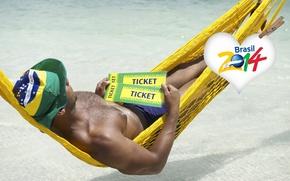 Wallpaper logo, man, football, flag, World Cup, Brasil, FIFA, hammock, 2014, tickets