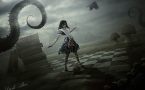 Picture girl, castle, mushroom, books, rabbit, dress, skull, tentacle, alice, fan art, alice in wonderland, dark …