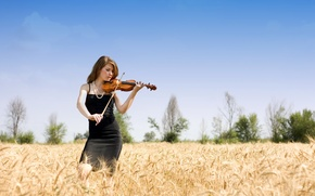 Picture girl, violin, music
