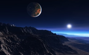Picture cold, clouds, mountains, sunrise, rocks, dawn, star, satellite, morning, the atmosphere, haze, exoplanet, white dwarf, …