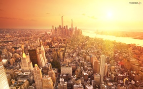 Picture the sun, the city, building, home, America, new York, USA, skyscrapers, new york, usa