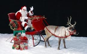Picture new year, Christmas, deer, Santa Claus, Santa Claus