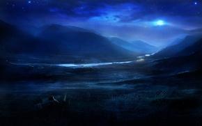 Wallpaper stars, night, nature, river, hills, the moon, art