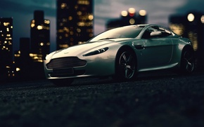 Picture building, lights, twilight, Aston Martin, wheel