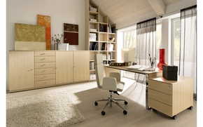 Picture design, style, room, interior, office, office, office, elegant home office design