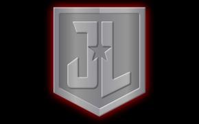 Picture logo, shield, comics, star, JL, Justice League, DC, metal, symbol