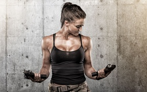 Picture girl, face, weapons, background, guns, body