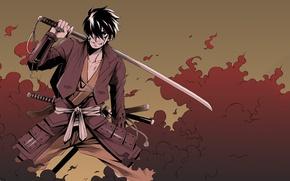 Picture sword, anime, art, samurai, guy, Shimazu Toyohisa