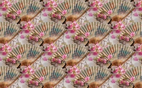 Picture leaves, flowers, Wallpaper, fan, mug, Cup, texture, saucer