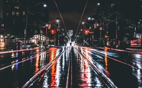 Wallpaper night, the city, lights, people, wet road