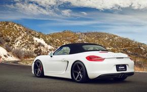 Picture road, white, mountains, Porsche, white, Porsche, Boxster S, 981