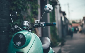 Picture green, street, bokeh, Vespa, mirrors, scooter, 125