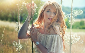 Picture summer, light, flowers, swing, mood, hair, freckles