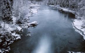 Picture river, winter, snow