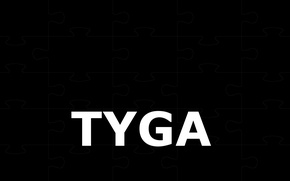 Picture the inscription, mosaic, black background, musician, rap, Tyga