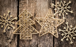 Picture winter, snowflakes, background, tree, toys, star, tree, New Year, Christmas, the scenery, herringbone, Christmas, gold, …