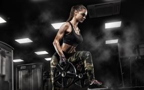 Wallpaper brunette, pose, female, workout, fitness, sportswear