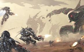 Picture fiction, war, desert, robots, battle, art