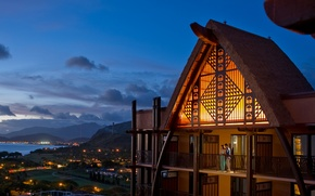 Picture the city, lights, the ocean, the evening, Hawaii, Aulani Resort