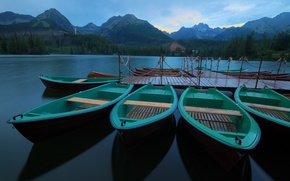 Picture forest, mountains, lake, calm, boats, morning, pier, Slovakia, Strebske Pleso