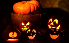 Wallpaper Halloween, holiday, night, pumpkin, halloween, gang