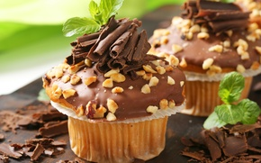 Picture the sweetness, chocolate, nuts, cake, mint, chocolate, nuts, cupcake, mint, sweetness