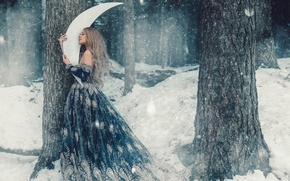 Picture winter, forest, girl, snow, trees, hair, cute, a month, dress, fairy, snowfall, fabulously, Wallpaper from …