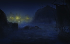Picture sea, wave, night, ships, Assassin's Creed III, Assassin's creed 3