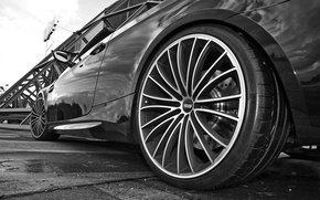 Wallpaper BMW, wheel, black and white