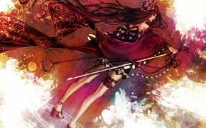 Picture flower, girl, rose, sword, katana, kimono, bow, garter, print, shuriken, Rose of Death