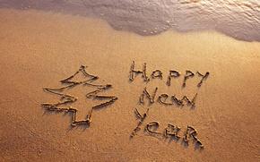Picture sand, sea, beach, beach, sea, sand, New Year, Happy, Happy New Year