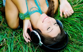 Picture greens, grass, girl, nature, smile, music, background, stay, mood, headphones, brunette, widescreen, song, full screen, …