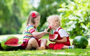 Picture summer, grass, the sun, children, boy, watermelon, small, girl, girl, summer, bow, boy, child, eat, …