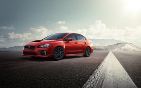 Picture mountains, Subaru, WRX, red