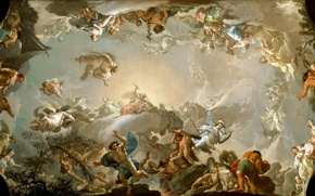Picture picture, the gods, the titans, mythology, Francisco Bayeux and Subias, Olympians, The battle with the ...