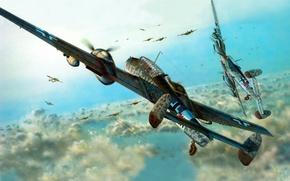 Picture fighter-bomber, Messer Schmit, Bf-110, night fighter