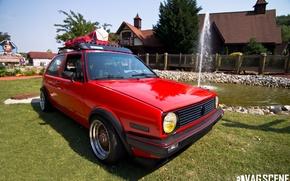 Picture red, tuning, volkswagen, drives, golf, GTI, Volkswagen, bbs, 1985, Mk2