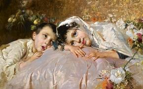 Picture look, flowers, children, portrait, picture, artist, painting, Salvatore Postiglione