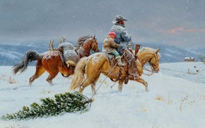Picture winter, the sky, snow, landscape, mountains, house, holiday, horse, tree, Christmas, picture, genre, Clark Kelley …