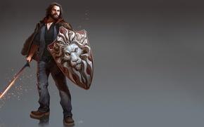 Picture pose, figure, sword, fantasy, art, sparks, male, sword, beard, fantasy, shield, Final Fantasy, Final fantasy, …