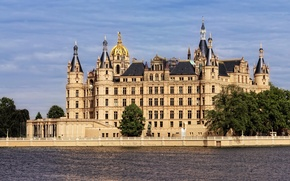 Picture river, castle, Germany, Schwerin