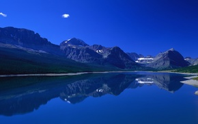Picture the sky, grass, water, mountains, reflection, shore
