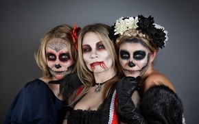 Picture girls, holiday, vampire, mask, Halloween