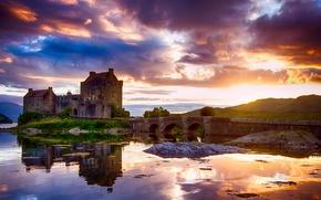Picture the sky, water, clouds, light, reflection, Scotland, Castle, the sun, Eilean Donan