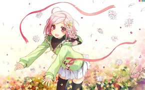 Picture chamomile, petals, meadow, jacket, tape, red, art, pink hair, h2so4, visual novel, your diary, yua