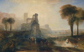 Picture trees, landscape, people, picture, the ruins, William Turner, Caligula's Palace and Bridge