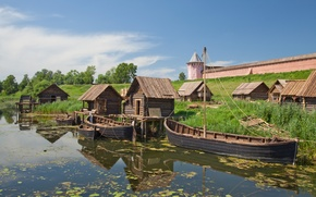 Picture river, Wallpaper, tower, home, boats, the Kremlin, wallpaper, wooden, Kamenka, the city-reserve, Suzdal, Vladimir oblast